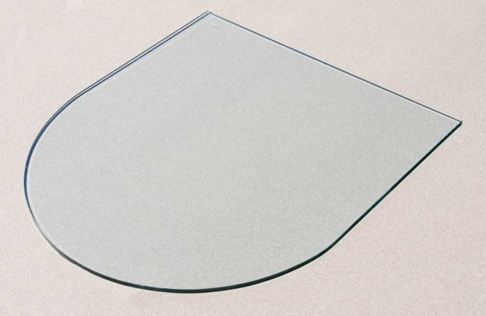 arch shape glass hearth