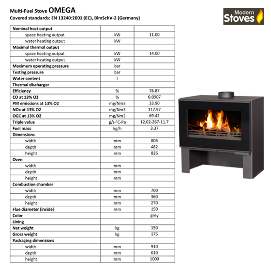 omega stove spec sheet