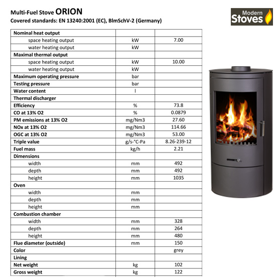 orion stove spec sheet
