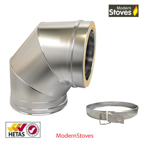 Stainless 90 degree elbow TWIN WALL