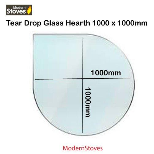 tear drop shape glass hearth