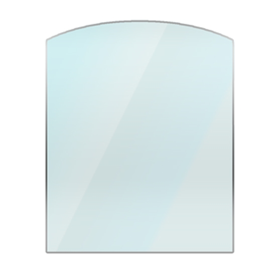 arch shape glass hearth curved front