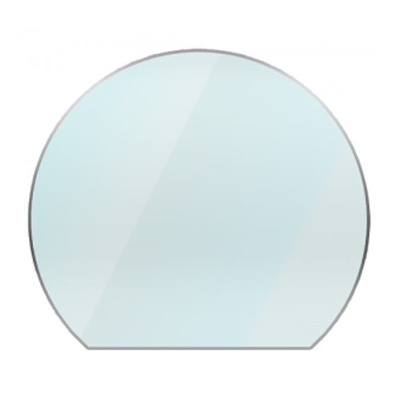 circular glass hearth -truncated curved