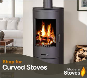 curved wood burning stove